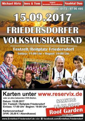 Bild: 25. Erntefest Friedersdorf - Volksmusikabend zum Auftakt des 25. Friedersdorfer Erntefestes