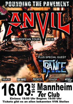 Bild: Anvil + special guest: Trance - Pounding The Pavement Tour 2018  - 40th Anniversary