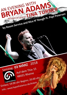 Bild: ROOM SERVICE with NICE N' ROUGH - an evening with BRYAN ADAMS with special guest TINA TURNER