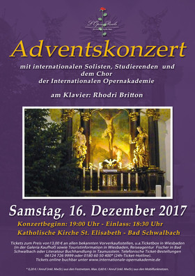 Adventskonzert - mit internationalen Solisten, Studierenden und dem Chor der Internationalen Opernakademie
