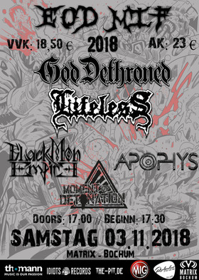 End Of Days Metal Inferno Fest - God Dethroned, Lifeless, Black Moon Empire, Apophys, Moment Of Detonation