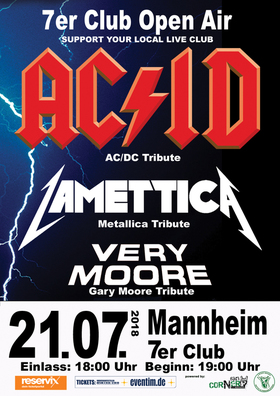 Bild: 7er Club Tribute Open Air 2018 - u.a. mit AC/ID - AC/DC Tribute  und Lamettica - Metallica Tribute - Open Air 2018