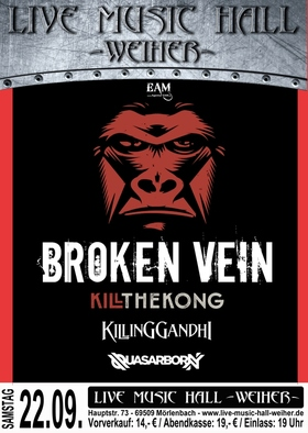Kill The Kong + Broken Vein + Killing Gandhi - Support: Quasarborn