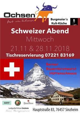 Bild: Schweizer Abend - Tischreservierung unter 07221 83169