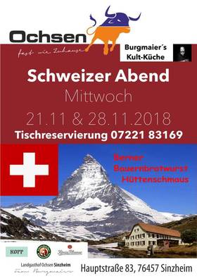 Bild: Schweizer Buffet im Chalet - Tischreservierung unter 07221 83169