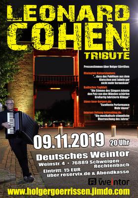 Bild: Leonard Cohen Tribute-Show by Holger Goerrissen! - Leonard Cohen Tribute-Show von Holger Görrißen live im Weintor