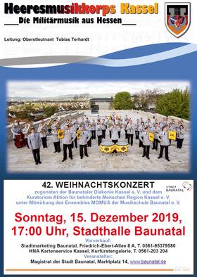 Bild: 42. Weihnachtskonzert mit dem Heeresmusikkorps Kassel - unter Mitwirkung der Gruppe MOMUS der Musikschule Baunatal e. V.