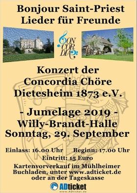 Bild: Jumelage Stadt Mühlheim und Stadt St. Priest - Chorkonzert Conchordia Chöre Dietesheim 1873 e.V.