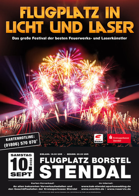 Bild: Flugplatz in Licht und Laser - Das Duell der Feuerwerker