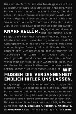 Bild: Knarf Rellöm - Wir müssen die Vergangenheit endlich Hitler uns lassen (Lesung)
