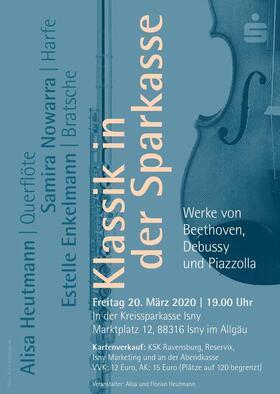 Bild: Klassik in der Sparkasse - 250 Jahre Ludwig van Beethoven - Werke von Beethoven , Debussy , Piazzolla