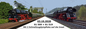 Bild: Mit 2 Schnellzug-Dampfloks auf die Insel Rügen
