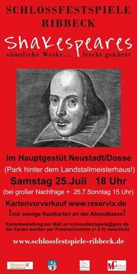 Bild: Shakespeares sämtliche Werke... leicht gekürzt! - Gastspiel Landstallmeisterhaus Neustadt/Dosse