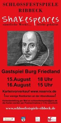 Bild: Shakespeares sämtliche Werke... leicht gekürzt! - Gastspiel Burg Friedland