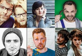 Bild: Wettbewerb um den Obernburger Mühlstein - mit Elli Bauer, Florian Hacke, Jakob Friedrich, Jakob Heymann und Mackefisch; Moderation: Byebye