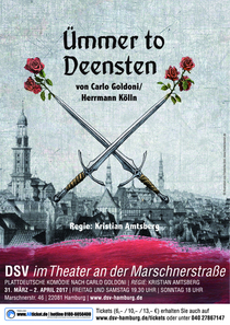 Bild: Ümmer to Deensten (Der Diener zweier Herren) - Plattdeutsche Komödie nach Carlo Goldoni; Regie Kristian Amtsberg