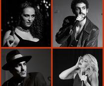 Bild: M. Graf, N. Ott, J. Rahma, S. Saam, M. Högemann, L. Sánchez, D. Zolfaghari - The Songs of Tom Waits - Köln-Premiere