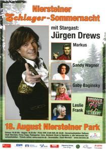 Bild: Niersteiner Schlager-Sommernacht - mit Stargast Jürgen Drews sowie Markus, Sandy Wagner, Gaby Baginsky, Leslie Frank und den Brugger Buam