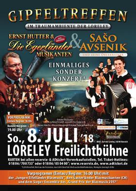 Gipfeltreffen Egerland trifft Oberkrain - Im Traumambiente der Loreley - Ernst Hutter & Die Egerländer Musikanten & Saso Avsenik und seine Oberkrainer - Sonderkonzert!