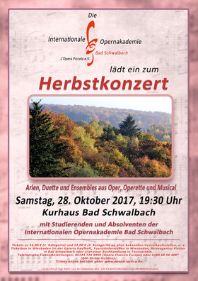 Herbstkonzert - Arien, Duette und Ensembles aus Oper, Operette und Musical