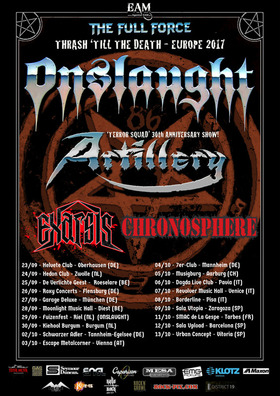Bild: Onslaught, Artillery + support - Thrash 'Till The Death - Europe 2017