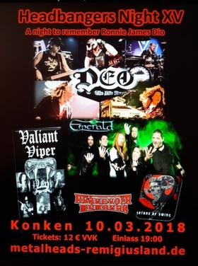 Bild: Headbanger´s Night 15 - DEO (DIO Tribute), Emerald, Valiant Viper, Satans of Swing, Resevoir Members