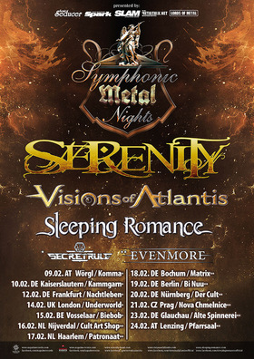 SYMPHONIC METAL NIGHTS TOUR  2018 - SERENITY, VISIONS OF ATLANTIS, SLEEPING ROMANCE Support SECRET RULE + EVENMORE!