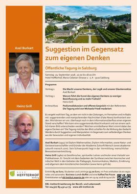 Bild: Suggestion im Gegensatz zum eigenen Denken - mit Axel Burkart & Heinz Grill
