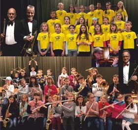 Bild: Generationenkonzert - Das Freiburger Senioren Salonorchester musiziert mit Chor und Bläserklasse der Grundschule Bad Krozingen