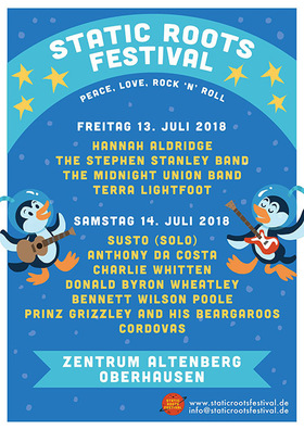 Bild: Static Roots Festival 2018 - Tagesticket Samstag - SUSTO (solo), Anthony da Costa, Charlie Whitten, Donald Byron Wheatley, Bennett Wilson Poole, Prinz Grizzley, Cordovas