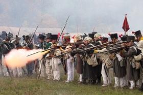 Bild: Gefechtsdarstellung zum 205. Jahresgedenken  Völkerschlacht bei Leipzig 1813