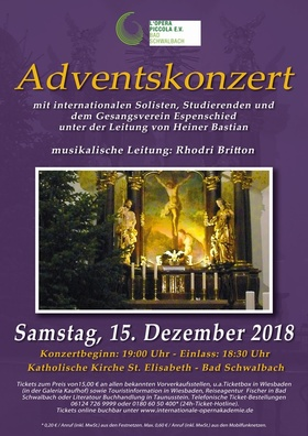 Adventskonzert - mit internationalen Solisten, Studierenden und dem Gesangsverein Espenschied