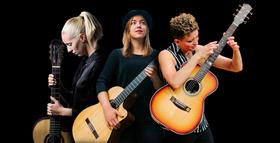 Bild: MusiSHEans Guitar Tour - Christie Lenée (USA), Karlijn Langendijk (NL) und Judith Beckedorf (D)