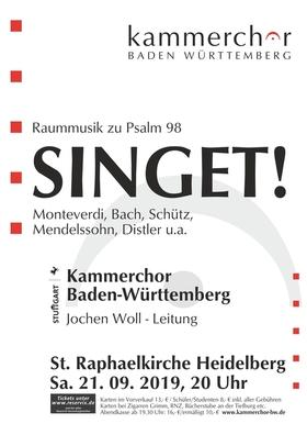 Bild: SINGET! -Raummusik zu Psalm 98 - Werke von Monteverdi, Schütz, Bach, Mendelssohn, Distler u.a.
