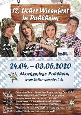 Bild: 12. Licher Wiesnfest Pohlheim - 1. Wiesnhitnacht mit Grabenland Buam, Anna Maria Zimmermann & Peter Wackel