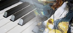 Bild: Art-Performance - Klavier und Pinsel auf Leinwand