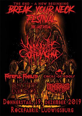 Bild: BREAK YOUR NECK FESTIVAL II - MILKING THE GOATMACHINE, Fateful Finality, Circus of Fools, Halls of Oblivion, Demorphed