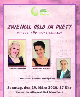 Bild: Zweimal Solo im Duett - Sopran-Duette von Händel bis Rossini und mehr - mit Claudia Grundmann und Katharina Wollitz