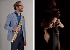 Bild: Ensemble GAMBELIN - Christian Elin, Bassklarinette / Saxophon und Charlotte Schwenke, Viola da Gamba