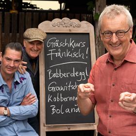 Bild: Helmut Haberkamm & Winni Wittkopp mit Arne Unbehauen - Gräschkurs Fränkisch
