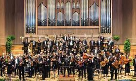 Bild: Universitätsorchester der JKU Linz - Dirigent: Christian Radner, Solisten: F. X. Frenzel Quartett