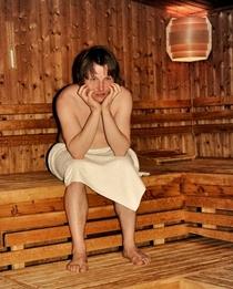Bild: Allein in der Sauna (F. Pinkus) - Ein heiter-vergnüglicher