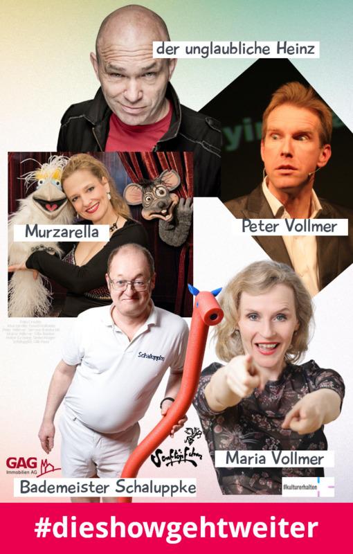 Heinz Gröning, Maria Vollmer, Peter Vollmer, Murzarella und Bademeister Schaluppke: - #dieshowgehtweiter - im Livestream!