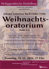 """Bild: Johann Sebastian Bach  """"Weihnachtsoratorium""""  (Teile 1-6) - Leitung: Christoph Andreas Schäfer"""